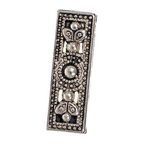 Antique Silver Metal Rectangle Flower Spacer Beads - Create Bracelets, Necklaces, and Other Jewelry or Accessories (25 Pack)