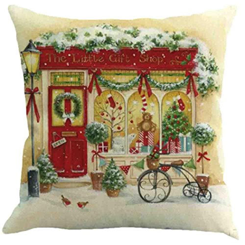 Challyhope Christmas Romatic Snow Scenery Print Waist Cushion Cover Throw Pillow Case Sofa Car Home Docor (45cm X 45cm, Multicolor A) (Halloween Funny Cover Photo)
