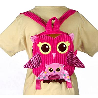"10"" Pink Owl Girls Travel Backpack Buddies Stuffed Bookbag by Fiesta Toys"
