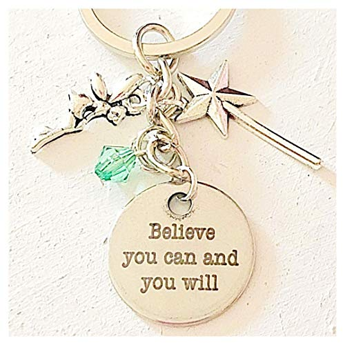 Peter Pan Accessories Silver Tinkerbell-Inspired Charm Keychain Believe You Can and You Will Gift of Fairy Love (Swarovski Peter Pan)