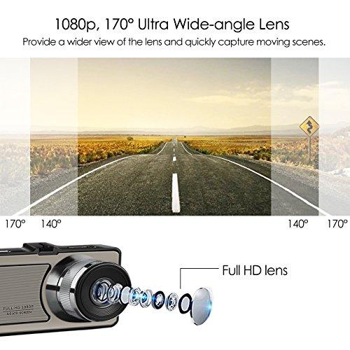 Favoto Dash Cam Full HD 1080P 12 Megapixel Camera 3'' Large LCD Screen 170° Wide Angle Lens Car Camera Recorder with G-Sensor WDR Night Vision Loop Recording Motion Sensor by Favoto (Image #2)