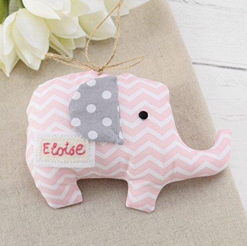 PERSONALISED HANDMADE NAME BUNTING PADDED NURSERY BABY ELEPHANTS
