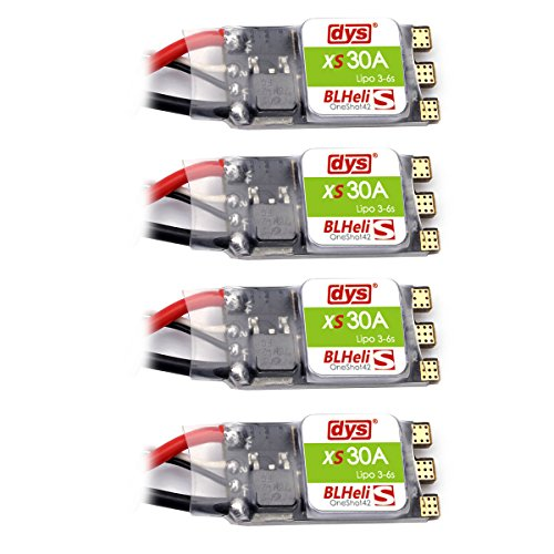 Hobby-Ace 4pcs DYS BLHeli_S XS30A 30A ESC 3-6S with Silabs EFM8BB2 Oneshot42 Multishot and Damped Light for FPV Racing Drone