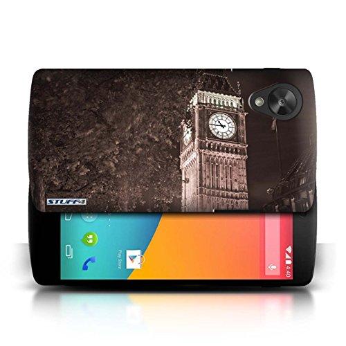 Etui / Coque pour LG Google Nexus 5/D821 / Big Ben Sepia conception / Collection de Londres Angleterre
