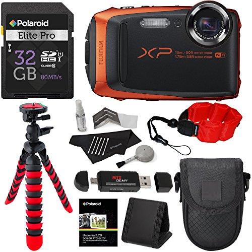Fujifilm FinePix XP90 Waterproof digital camera (Orange), 32GB Class 10, Memory Card Reader, 12