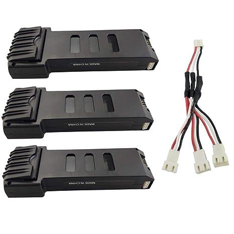 Fytoo 3PCS 7.4V 1200mah Lipo Batería y 3 en 1 Cable de conversión ...
