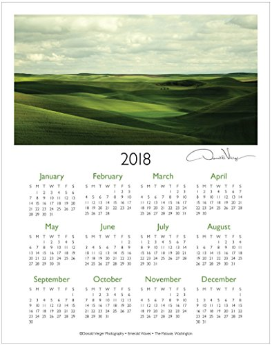 Hippie Ideas (2018 Palouse One Page Fine Art Wall Calendar. Emerald Waves. 11x14 For Framing. Best Quality Birthday, Christmas, Mother's Day & Valentines Gifts for Women, Men & Kids. Unique Idea for Him or Her.)