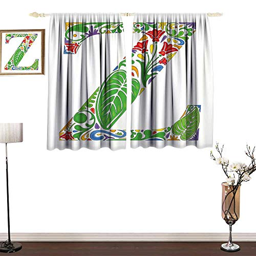 Letter Z Valance Curtains Floral Alphabet Typography Font Design Nature Inspired Z Summertime Garden Theme Window Drapes for Bedroom W55 x L72 from RenteriaDecor
