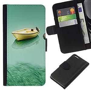 Planetar® Modelo colorido cuero carpeta tirón caso cubierta piel Holster Funda protección Para Apple iPhone 5C ( Boat & Owl )