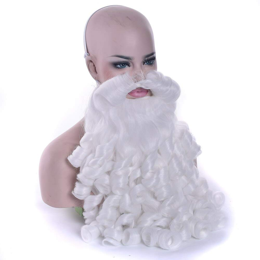 HAOMAO E Costumes Santa Cla Beard Synthetic Hair Short Santacla Cosplay Wigs for