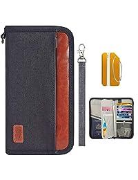 OrgaWise Family Passport Holder RFID Blocking Travel Passport Wallet Document Organizer Waterproof Ticket Holder for Journey(Black)