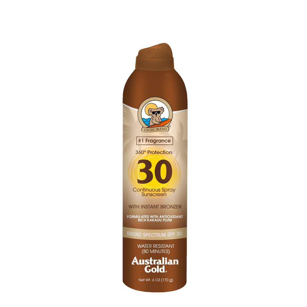 Australian Gold Continuous Spray Sunscreen with Instant Bronzer, SPF 30, 6 Ounce