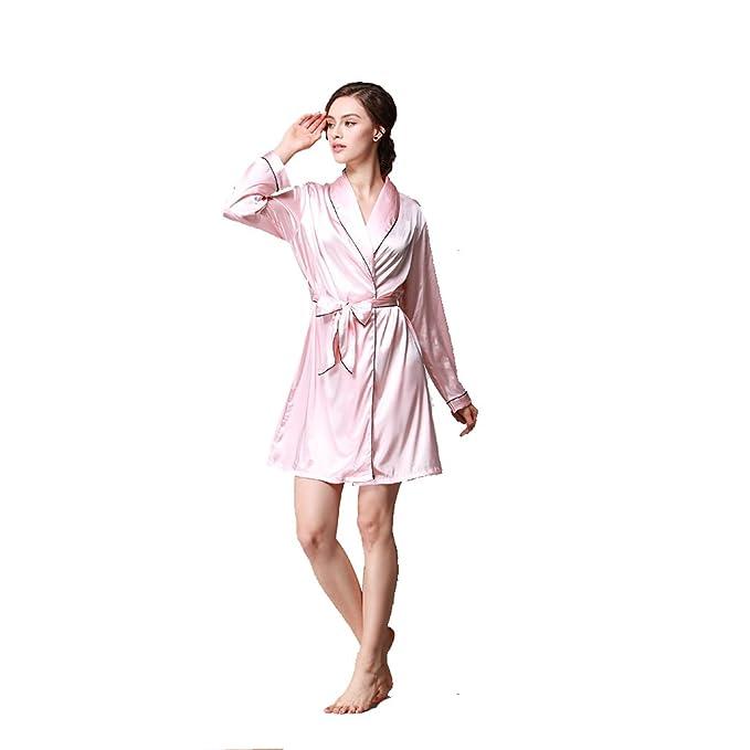 BOYANN Ropa de Dormir Erótica para Mujer Sexy Batas y Kimonos de Satén Albornoces, Rosa Claro M: Amazon.es: Ropa y accesorios