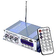 Small amplifier USB card display radio amplifier MP3 computer desktop amplifier Lake blue