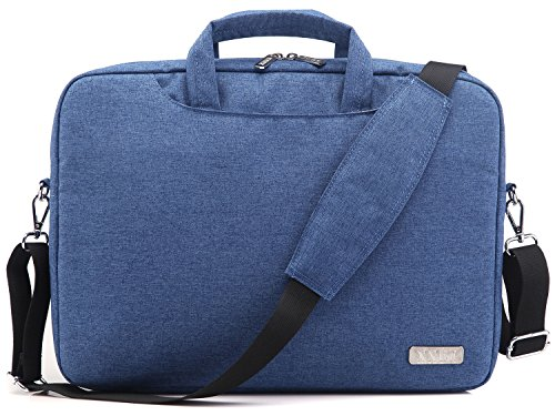 NNEE 15 15.6 Inch Water Resistance Suit Fabric Laptop Multi-functional Briefcase Messenger Bag Computer Travel Carrying Case with Handles & Adjustable Shoulder Strap - Wedgewood Blue