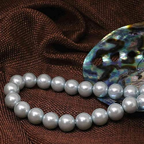 Calvas Fashion Light Sky Blue Round Shell Simulated-Pearl Beads 4-14mm Factory Outlet Wholesale Price Jewelry findings 15inch B1606 - (Color: 8mm) ()