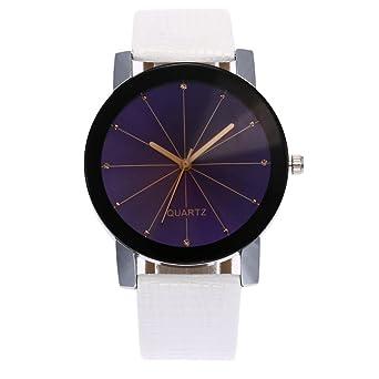 Montre Ronde Unisexe Convexe Cadran De Poignet En Cuir Quartz Horloge (4  cm, I b59f1a37004