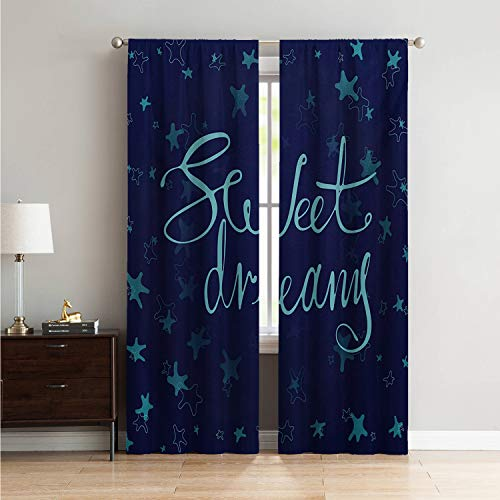 Mozenou Window Treatments Curtains for Living Room Sweet Dreams,Phrase in Handwriting Style on Starry Background Modern Calligraphy,Aqua and Navy Blue W96 x L108 Inch