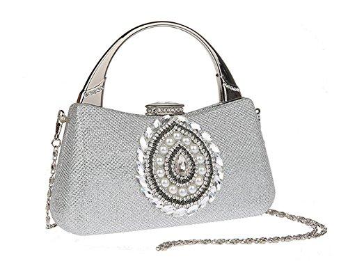 Party Ladie Purse Rhinestone Prom Evening Bag Clutch Silver Ankoee Handbag Y6dBwY