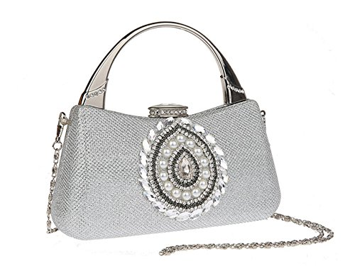 Prom Bag Clutch Ankoee Handbag Evening Purse Rhinestone Ladie Silver Party xqHnSZ1w0