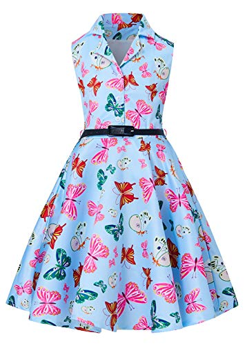 RAISEVERN Girls Butterfly Dress Fancy Knee Length Summer Vintage Party Sleeveless Swing Dress for Toddler Girl 6-7 Years]()