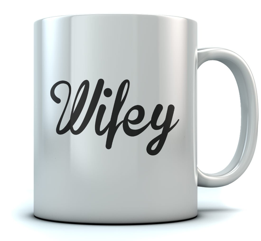 Wifey Coffee Mug Gift for Wife Wedding Gift for Couples, Mug 11 Oz. White GtPtlrZgWWwPPWw9ll6F