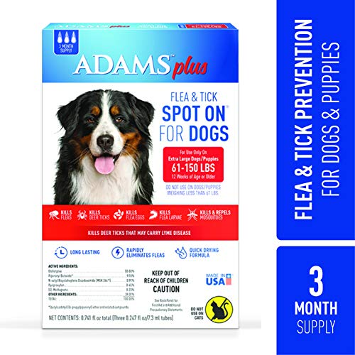 - Adams Plus Flea and Tick Spot On for Dogs, Extra Large Dog Flea Treatment, 61-150 Pounds, 3 Month Supply