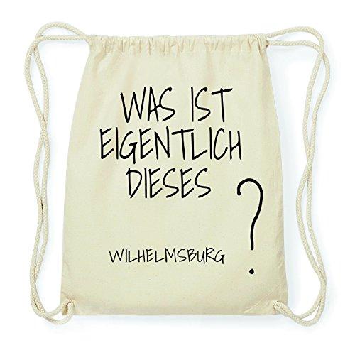JOllify WILHELMSBURG Hipster Turnbeutel Tasche Rucksack aus Baumwolle - Farbe: natur Design: Was ist eigentlich HErlhr