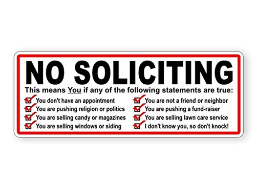 1-Pc Distinguished Popular No Soliciting Vinyl Stickers Solicit Decor Window Label Weatherproof Size 3