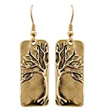 Lovely Tree Of Life Assymetrical Dangle Earrings