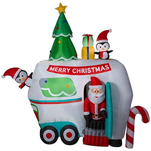 Gemmy 9 FT. Animated Inflatable Christmas Glamper with Santa and Friends Indoor/Outdoor Holiday Decoration