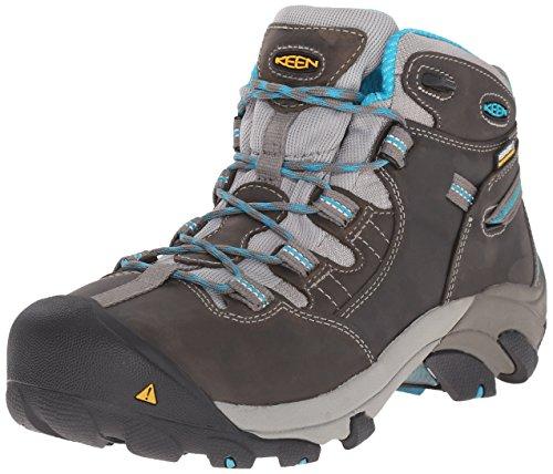 KEEN Utility Women's Detroit Mid Work Boot, Gargoyle/Capri Breeze, 7 M (Detroit Footwear)