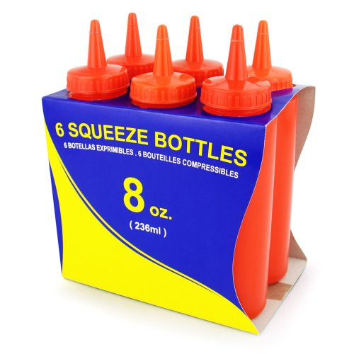 New Star Foodservice 26283 Squeeze Bottles, Plastic, 8 oz, Red, Pack of 6
