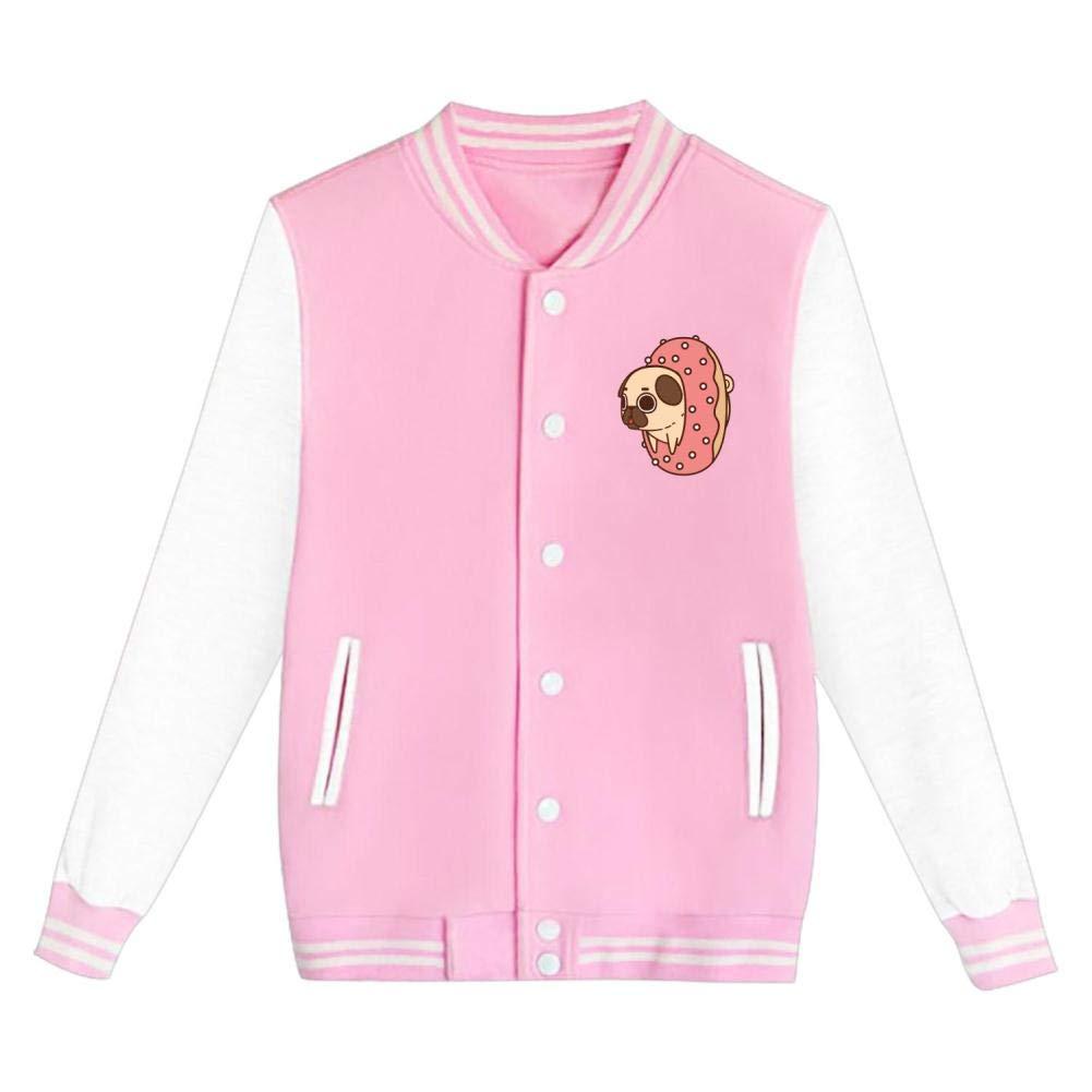 Youth//Kids Pug Dog Riding Donut Funny Pet Letterman Jacket Varsity Baseball Bomber Cotton Jacket