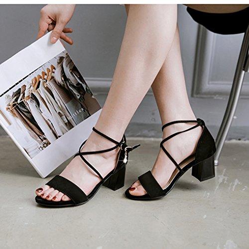 Femme Sandales Lanière Noir Moyen Ouverte Chaussures OALEEN Talons Croisé Soirée Sexy Eté Classique ExdYwU