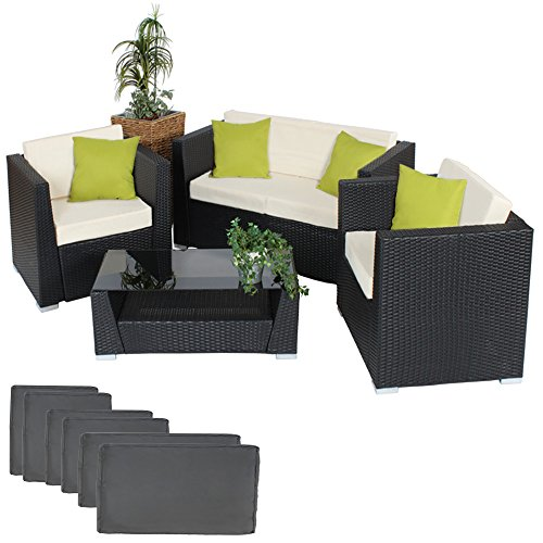 TecTake Luxury Rattan Aluminium Garden Furniture Sofa Set Outdoor Wicker with Glass Table black + upholstery + 4 Extra Pillows, stainless steel screws