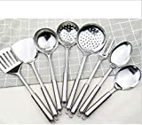 Kitchen Stainless Steel 8-Piece Cooking Spoon Set, Stainless Steel Cooking Utensils - Kitchen Utensils Set of 8