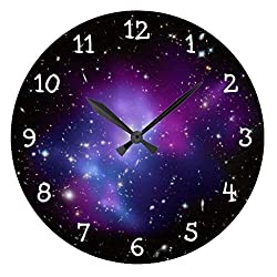 OSWALDO Rustic Wall Clock for Living Room Decor Purple Galaxy Cluster Nursery Wood Wall Clock for Bedroom Decor 12 inch