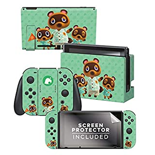"Controller Gear Aunthentic & Officially Licensed Animal Crossing: New Horizon - ""Tom Nook & Team"" Nintendo Switch Skin Bundle"