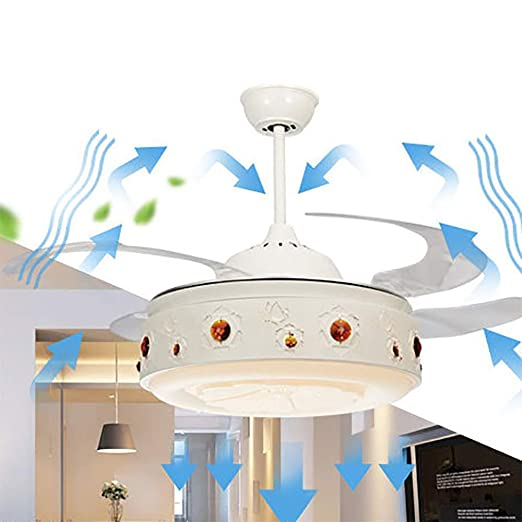 Lgoodl 106,7 Cm Deckenventilator Mit Licht Silent Deckenventilator Acryl  Fan Klinge Deckenventilator Metall Kronleuchter Mit Fan LED Deckenleuchte  Mit ...