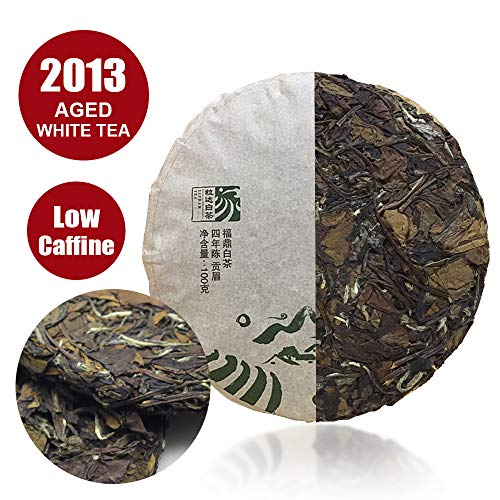 50 Servings White Tea Cake - 2013yr Shou Mei Aged White Tea -Chuan Cheng(Heritage) White Tea - Fuding Fujian White Tea - Chinese Famous Tea With Needle Tool - 100g/3.52oz