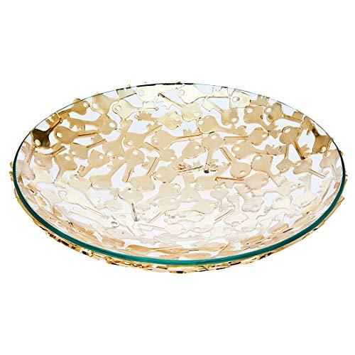 Pierced Fruit Bowl - Key Design Pierced Decorative Bowl Centerpiece Fruit Food Bowl Serveware by Godinger