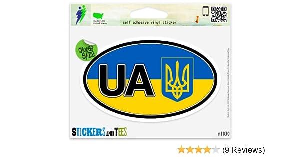 "Ukraine Flag UA Coat of Arms Flag Oval car window bumper sticker decal 5/"" x 3/"""