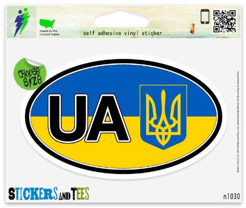 Ukraine Flag UA Coat of Arms Flag Oval Vinyl Car Bumper Window Sticker 5