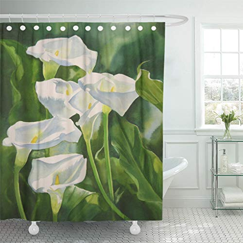 Emvency Shower Curtain Calla Lilies Vertical Composition Watercolor Painting of White with Green Leaves and Dark Shadows Shower Curtains Sets with Hooks 72 x 78 Inches Waterproof Polyester Fabric