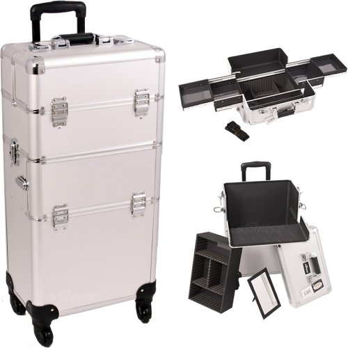 33 Inch Silver Dot 2 in 1 Interchangeable Series Make Up Carrying Tote Cosmetic Train Case Pro Beauty Studio with 4-360 Degree Rotating Wheels and Telescoping Drag Handle