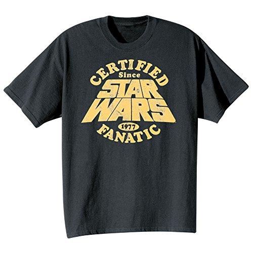 [Star Wars Mens Certified Fanatic Since 1977 T-Shirt Black XL] (Cheap Star Wars Shirts)
