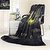 Fleece Blanket 300 GSM Anti-static Super Soft the illustration shows the girl who admires the star sky Warm Fuzzy Bed Blanket Couch Blanket(60''x 50'')