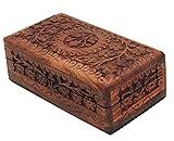 KayJayStyles Hand Carved Tree Of Life Wooden Storage Box (Medium, Tree Of Life)