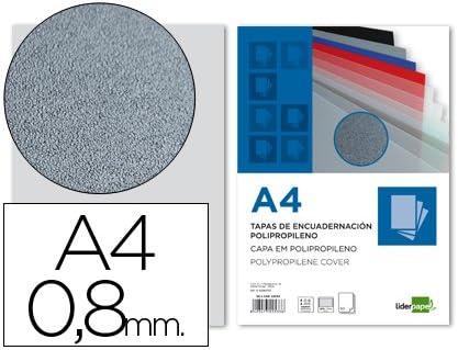Liderpapel TE10 - Pack de 50 tapas de encuadernación, color gris, A4, 0.8 mm: Amazon.es: Oficina y papelería